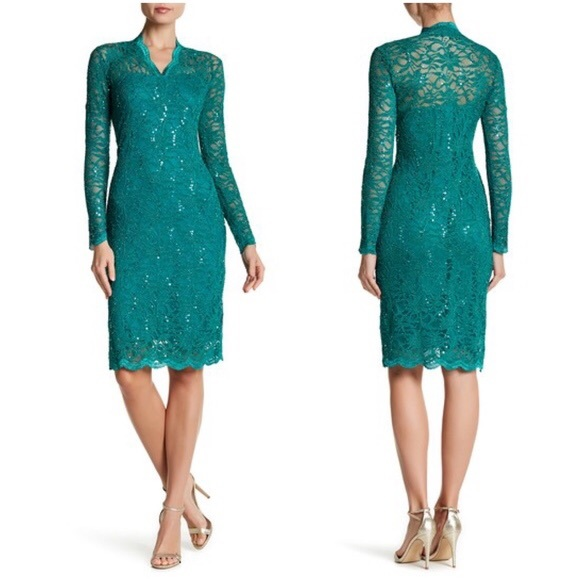 fb4a6636b Marina Rinaldi Dresses | Marina Long Sleeve Sequin Lace Dress ...